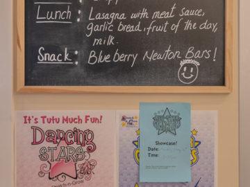 breakfast and lunch menu board in our school