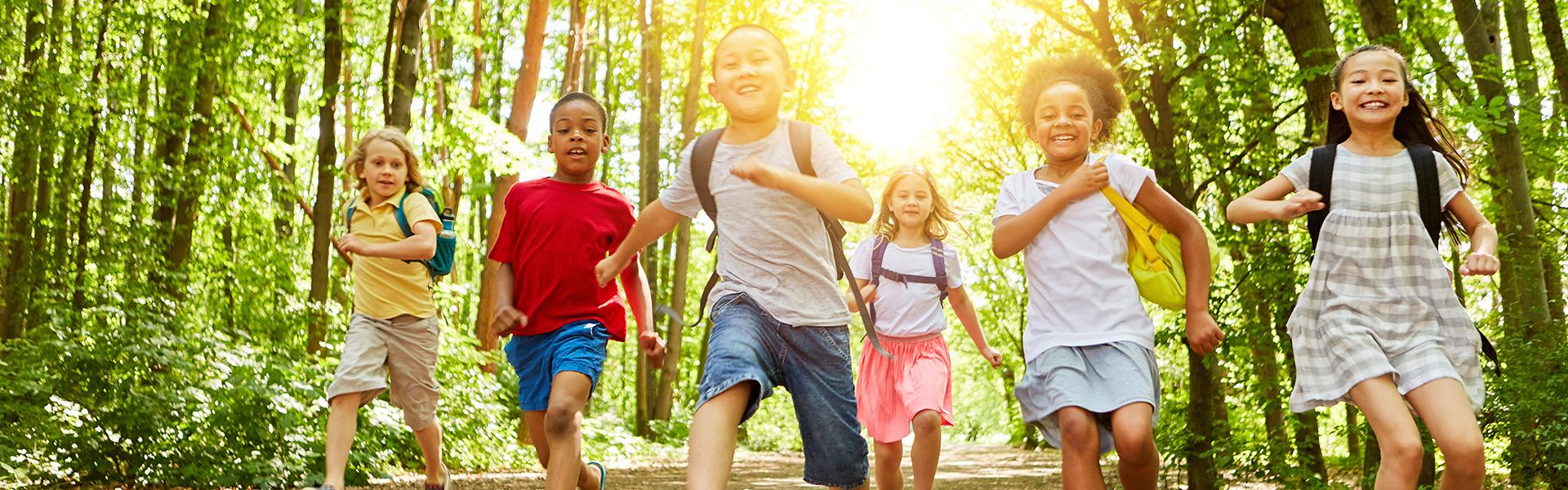 Children running with smile